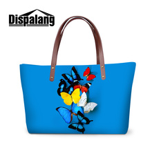 Dispalang 2017 hot sale women luxury handbags beautiful butterfly printed girls stylish hand bag ladies custom office totes bags(China)