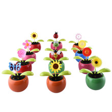 Car Styling Solar Power Flip Flap Flower For Car Swing Dancing Flower Toy Car Interior Ornaments(Ship Random)(China)