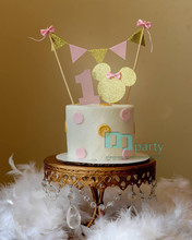 1set Minnie Mouse Cake Banner Topper 1st birthday Pink and Gold Cake Topper one Birthday bunting- Glitter Gold and Pink