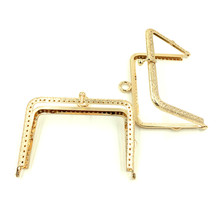 30Pcs Gold Plated Coins Purse Bag Metal Rectangle Frame Kiss Clasps Fermoirs Golden Handbag Handle Making 117x95mm(China)