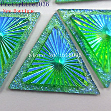 Unique Resin Rhinestones Triangle 30mm Green AB Sew On Stones and Crystals Strass Crystal Sewing Accessories Costumes Decoration(China)