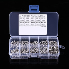 340pcs/set M3 Button Head Hex Socket Screw Bolt Nut Stainless Steel SS304 M3 Screws Nuts Assortment Kit Fastener Hardware(China)
