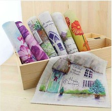 "7 Designs  ""Watercolor Landscapes""Square Cotton Linen Hand dyed painting Digital Printed Quilt Fabric 19cmx20cm DIY Handmade"