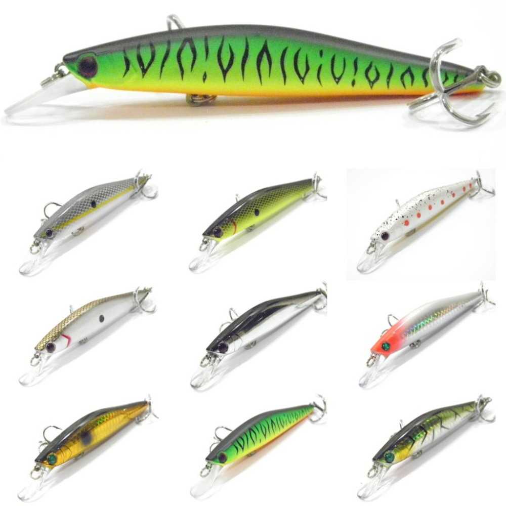 wLure Fishing Lure Hard Bait Black Nickel Round Bend Treble Hook Jerkbait Slow Floating Weight Transfer 13.5g 11.4cm Minnow M673<br><br>Aliexpress