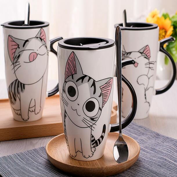 Cartoon Cat Mugs Handmade Creative Ceramic Coffee Breakfast Milk Water Mug Porcelain Cup Home Drinkware Unique Gift With Spoon(China (Mainland))