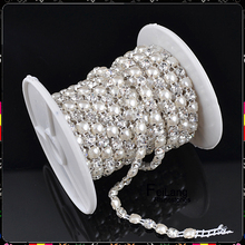 F682803 crystal one rows rhinestone pearl mesh trimming aluminium base 5yards for one roll aluminium silver base CPAM FREE