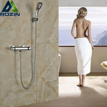 Luxury Bathroom Shower Set Mixer Faucet In-wall Thermostatic Shower Water Tap Chrome Finish Handheld Shower
