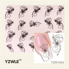 YZWLE 2017 Hot Sale DIY Japanese Watermark Cute Black Flower Design Nail Art Sticker, Water Transfer Sticker