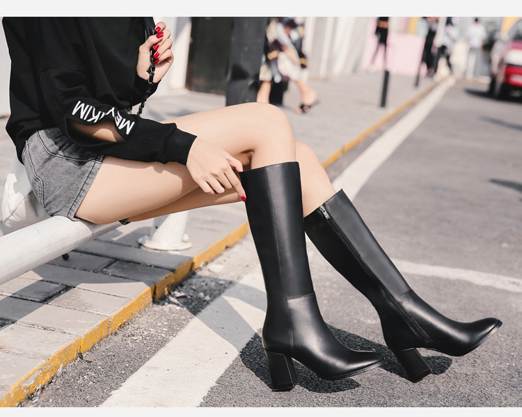 Donna-in elegant square toe high boots genuine leather women boots thick high heel ladies boots inside zipper knee-high boots 15325-7(7)