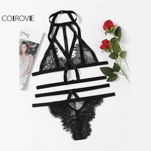 COLROVIE Strappy Lace Lingerie Set Vintage Women Eyelash Sweet Lace Bra Set 2017 Black Bralette Cut Out Slim Hot Lingerie Set(China)