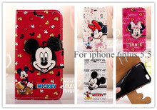 1pc fashion Flip Leather Wallet Card Pouch Mickey Mouse Minnie Cute Cartoon Cover Case for iphone 6 plus 5.5 Mobile Phone Bag(China)