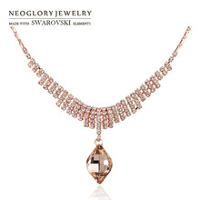 Neoglory Austria Crystal & Auden Rhinestone Long Charm Pendant Necklace Glaring Geometric Design Rose Gold Color Elegant Gift
