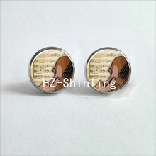 NES-0065  Violin Ear Studs Musical Instrument Jewelry Violin Art Earring Glass Cabochon Earrings Handmade Music Lovers Gifts HZ4