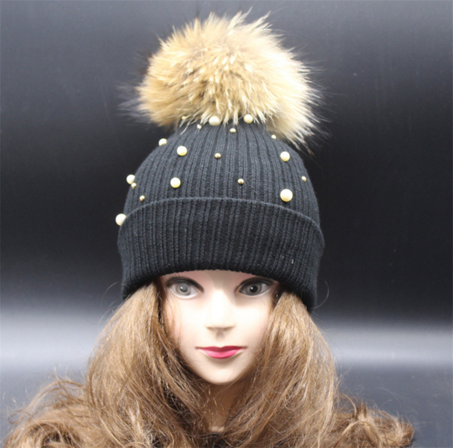 [Ode To Joy]Real fur pompon women winter warm  hat pearl for ladys wool hat knitted cotton beanies cap brand new style thick Одежда и ак�е��уары<br><br><br>Aliexpress