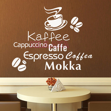 German English Italian Kaffee Coffee Beans Mokka Vinyl Wall Stickers for Kitchen Coffee Shop Wall Decals Home Decor Decoration(China)