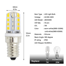 1pc E14 Lampada led 2835 SMD Fridge Led light 220V 230V Christmas Chandelier Refrigerator Lamp 32leds