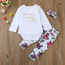 MUQGEW Fashion 3PCS Infant Baby Girl Clothes Letter Romper Tops+Floral Pants Headband Outfits Set Suit Hot Sale Infant Product(China)