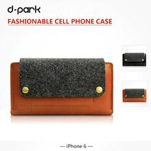 D-park Luxury glossy Genuine Leather & Wool Felt Case for Cover For iphone 6/iPhone 6s 4.7 inch(China)