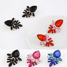 Free shipping 2017 new fashion jewelry accessories punk multicolor bling resin  stud earring magazine female accessories