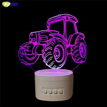FUMAT Tractor 3D Speaker Lamp Novelty Tractor Bluetooth Speaker USB Music Night Light Bedside Lampara With Color Changeable Gift