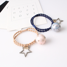 M MISM Fashion Rhinestone Women Hair Accessories Metal Ball Ponytail Holder Vintage Star Elastic Hair Band Double Rope Scrunchy(China)