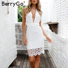 Buy BerryGo Sexy solid white lace dress women Sleeveless hollow backless beach summer dress High waist v neck sash short dress for $17.99 in AliExpress store