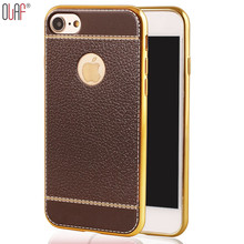 Olaf New design Litchi grain luxury Plating  CellPhone Cases For iPhone 5 6 6S Plus bracket  For 7 7s Plus 5.5  inch Anti knock