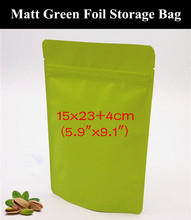 "50pcs 15x23+4cm (5.9""x9.1"") 280micron Matte Green Aluminum Foil Zipper Bag Resealable Greaseproof Green Zip Packaging Pouch(China)"