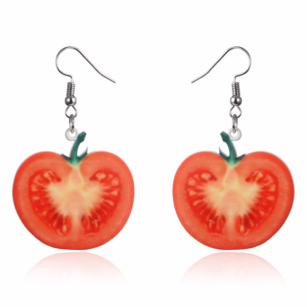 Newly Red Tomato Acrylic Fruit Big Drop Dangle Earrings Women Femme Fashion Jewelry Pendientes Accessories Friend Cute Gift