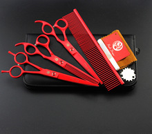 7 inch red paint pet beauty scissors shear suit send comb(China)