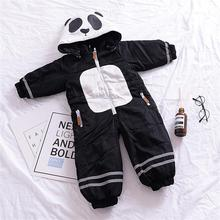 2017 fashion Winter children's rompers baby cartoon panda pattern thicken outwear one pieces body suits for boy girl 18M-5Age