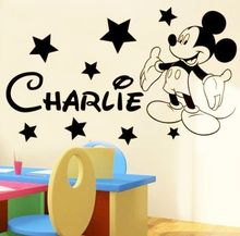 Mickey Mouse Stars Custom Personalised Name Wall Decal Sticker Nursery Bedroom Kids Girl Bedroom Wallpaper Mural D382