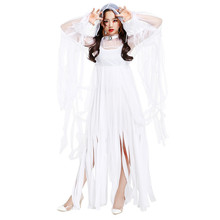 New Woman's Polyester Sexy Long Tassels Dress Halloween Cosplay White Ghost Bride Costumes Spirit Festival Disfraces H1691414
