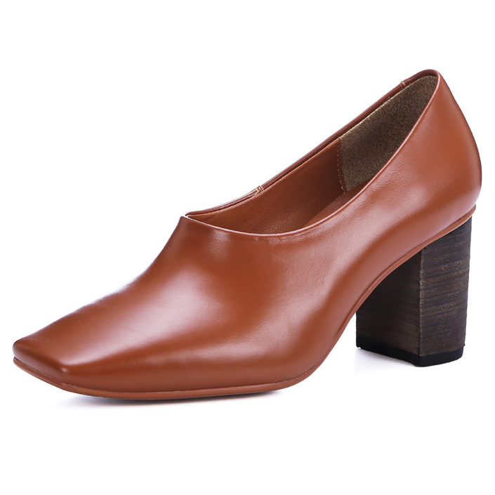 3 Colors Brand design 2017 Women Fashion Full Grain Leather Square Toe Pumps Lady Party High Heel shoes for women Size:33-42<br><br>Aliexpress