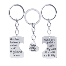 Christmas Gifts Fathers Mothers Child Jewelry Key Chains Gift, Mommy Daddy Girl Stole Heart Set Little Boy Kids Love Mothers Day