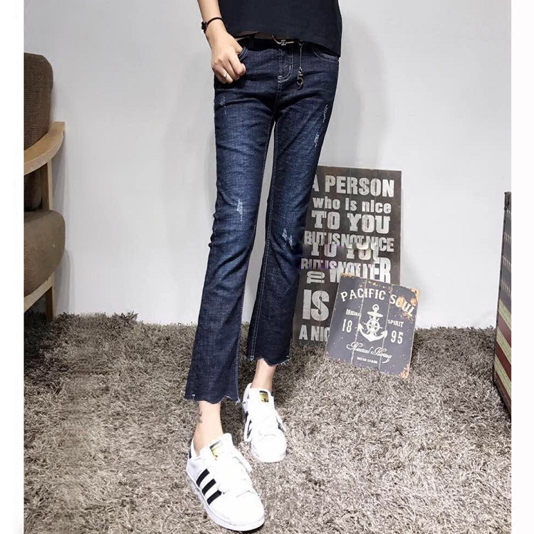 2017 Fashion Europe size Flare Jeans Women Mid Waist Wide Legs Pants black holes skinny Female Slim Trousers Femme JeansОдежда и ак�е��уары<br><br><br>Aliexpress
