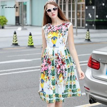 Truevoker Summer Designer Dress Women's High Quality Fancy Flower Printed Casual Tank Vestidos(China)