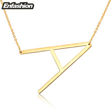 Fashion Letter Necklaces Pendants Alfabet Initial Necklace Gold ColorStainless Steel Choker Necklace Women Jewelry Kolye Collier(China)