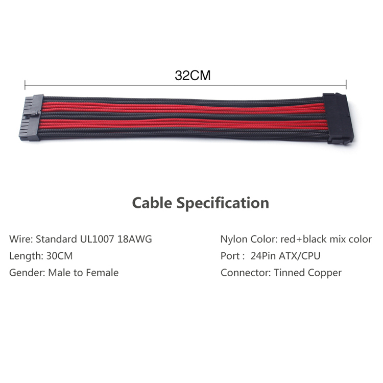 ATX 24 Pin Male to Female extension cable (10)