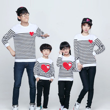 New Design Family Clothing Spring Autumn Long Sleeve Love Stripe Father Daughter Girl Boy T-shirt Family Matching Clothes Nmd(China)