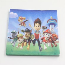 20PCS Wholesale PAW Patrol Theme Napkin Party decorations Baby Happy Birthday wedding event party supplies for kids