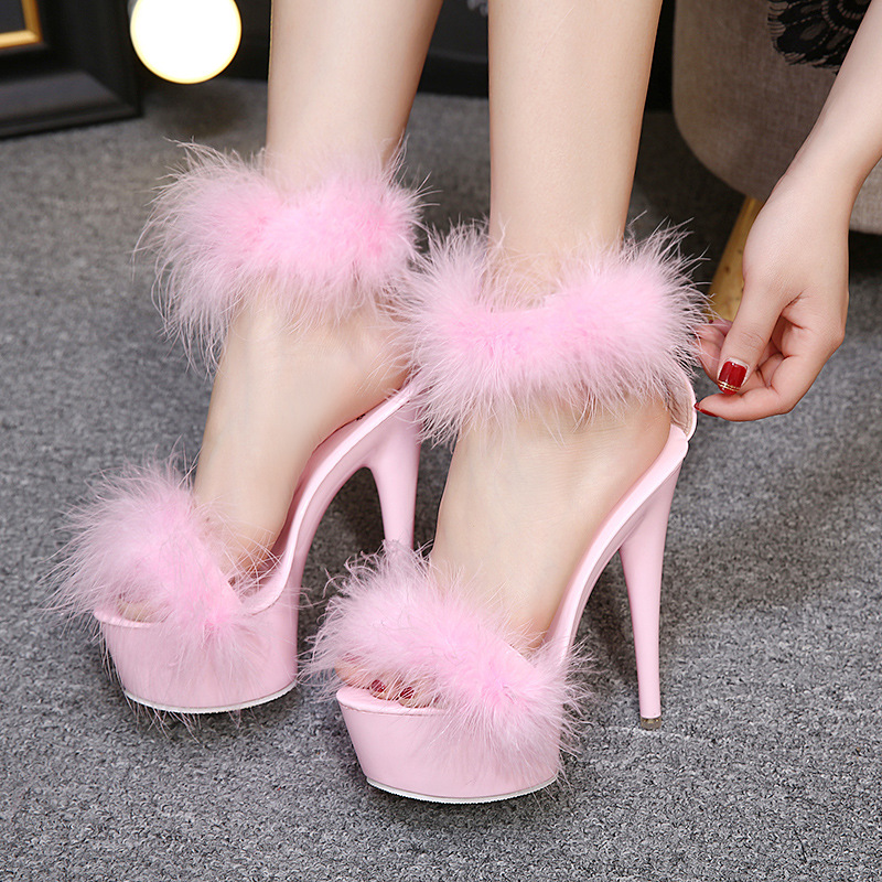 Fur Sandals Stripper-Shoes Platform-15cm High-Heels Pink Black White Woman Ladies Plus-Size title=