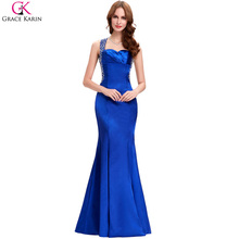 Grace Karin Mermaid Evening Dresses Long 2017 Elegant Royal Blue Sexy Spaghetti Beads Bandage Backless Formal Celebrity Gowns
