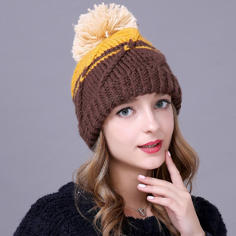 High-end Autumn Winter Hat Womens Thicken Warm Woolen Cap Fashion Lovely Casual Wild Knitted Beanies Chapeu Factory Outlets Одежда и ак�е��уары<br><br><br>Aliexpress