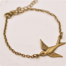 Statement Jewelry Simple Flying Bird Bracelet Bangle Fashion Everyday Cute Animal Bracelets Bijoux For Women Men Wedding Gifts(China)