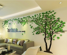 Free shipping Creative 3 d tree acrylic wall stickers sitting room sofa TV setting wall of interior decoration