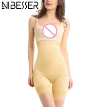 Buy NIBESSER High Waist Briefs Women Slim Shapewear Latex Waist Corsets Female Push Panties Ice Silk Body Shaper Bodysuit 5XL Z30