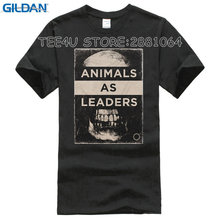 2017 Sale Fashion Broadcloth Cotton Tee4u Shirts Trend Clothing Men's Short Sleeve Top O-neck Animals As Leaders Skull T Shirt(China)