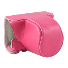 EDT-PENTAX Q-S1 Pentax mirrorless single-lens-only PU leather camera case with Shoulder Belt suitable for lens 5-15mm(pink)(China)