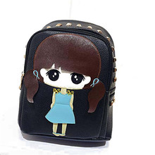 High Quality PU Leather Children Girls Mini Bag Cute Printing Anime Rivet Zipper 2016 Waterproof Dora Small Backpacks Mochila